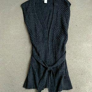 Long line sweater vest, open front